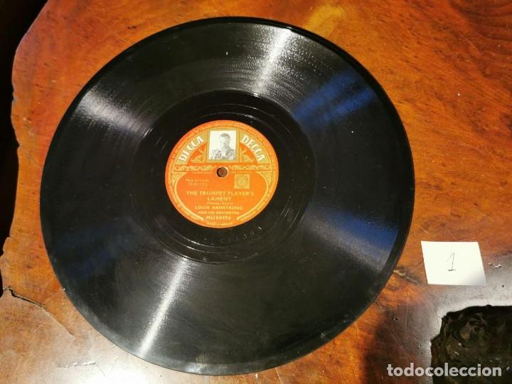 Discos de pizarra: DISCO PIZARRA, DECCA, THE TRUMPET PLAYER´S LAMENT Y BARBECUE, LOUIS ARMSTRONG. N1 - Foto 2 - 197355908