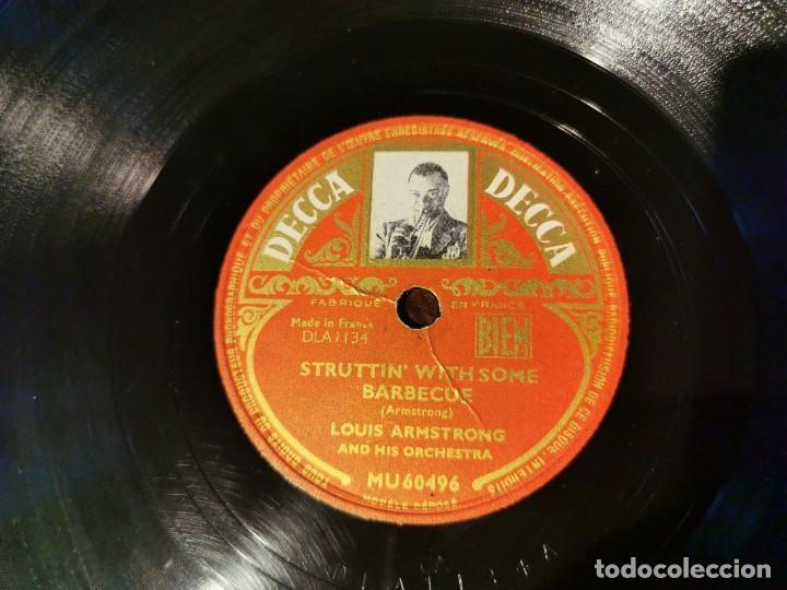 Discos de pizarra: DISCO PIZARRA, DECCA, THE TRUMPET PLAYER´S LAMENT Y BARBECUE, LOUIS ARMSTRONG. N1 - Foto 3 - 197355908