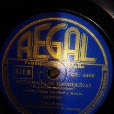 Discos de pizarra: DISCO DE PIZARRA : TINO ROSSI : ESUCHAD LAS MANDOLINAS + CATAR, CATAR . Lote 197848612