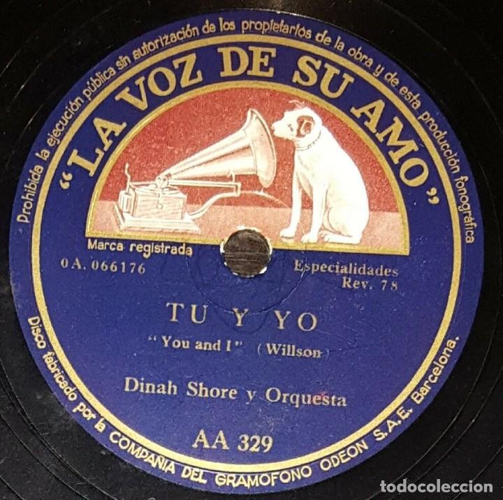 Discos de pizarra: DISCO 78 RPM - VSA - DINAH SHORE - ORQUESTA - SI VINIERAS A MI CASA - PORTER - TU Y YO - PIZARRA - Foto 2 - 197946016