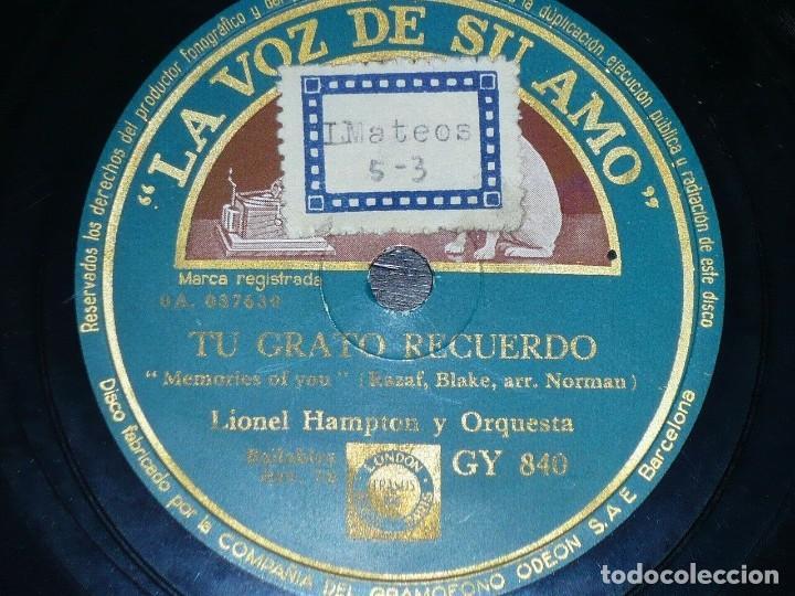 Discos de pizarra: DISCO 78 RPM - VSA - LIONEL HAMPTON - ORQUESTA - THE JUMPIN´JIVE - TU GRATO RECUERDO - PIZARRA - Foto 2 - 198149615