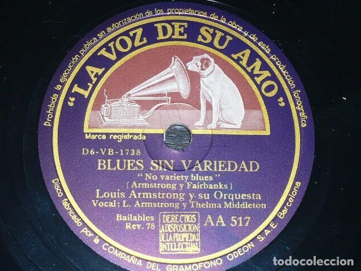 DISCO 78 RPM - VSA - LOUIS ARMSTRONG - ORQUESTA - BLUES SIN VARIEDAD - QUÉ PIENSAS HACER - PIZARRA (Música - Discos - Pizarra - Jazz, Blues, R&B, Soul y Gospel)