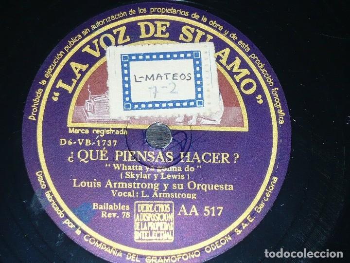 Discos de pizarra: DISCO 78 RPM - VSA - LOUIS ARMSTRONG - ORQUESTA - BLUES SIN VARIEDAD - QUÉ PIENSAS HACER - PIZARRA - Foto 2 - 198151243