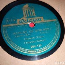 Discos de pizarra: ORQ. TIPICA FRANCISCO CANARO SANGRE DE SUBURBIO/QUEBRANTO 10'' 25 CTMS ODEON 204.429 SPAIN TANGO. Lote 198298755