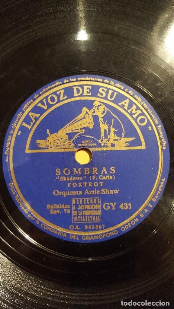 DISCO 78 RPM - VSA - ORQUESTA ARTIE SHAW - SOMBRAS - NO SABIA LA HORA - FOXTROT - PIZARRA (Música - Discos - Pizarra - Jazz, Blues, R&B, Soul y Gospel)
