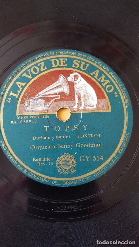 DISCO 78 RPM - VSA - ORQUESTA BENNY GOODMAN - TOPSY - RITMO DEL FUMADERO - FOXTROT - PIZARRA (Música - Discos - Pizarra - Jazz, Blues, R&B, Soul y Gospel)