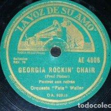 Discos de pizarra: DISCO 78 RPM - VSA - ORQUESTA FATS WALLER - GEORGIA ROCKIN CHAIR - SWEET THING - JAZZ - PIZARRA. Lote 198477572