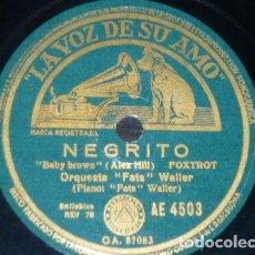 Discos de pizarra: DISCO 78 RPM - VSA - ORQUESTA FATS WALLER - PIANO - NEGRITO - FOXTROT - BRISA NOCTURNA - PIZARRA. Lote 198479588