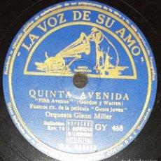 Discos de pizarra: DISCO 78 RPM - VSA - ORQUESTA GLENN MILLER - GENTE JOVEN - FILM - QUINTA AVENIDA - JAZZ - PIZARRA. Lote 198557516