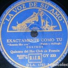 Discos de pizarra: DISCO 78 RPM - VSA - QUINTETO HOT CLUB DE FRANCIA - EXACTAMENTE COMO TU - SENTIMENTAL - PIZARRA. Lote 198729973