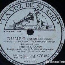 Discos de pizarra: DISCO 78 RPM - VSA - REGINALD FOORT - ORGANO MONUMENTAL MOLLER - DUMBO - WALT DISNEY - PIZARRA. Lote 198733777