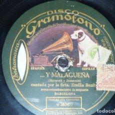 Discos de pizarra: DISCO 78 RPM - GRAMOFONO - EMILIA BENITO - LA INMESA JOTA - MALAGUEÑA - JOTA - PIZARRA. Lote 199412476
