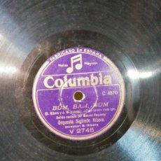Disques en gomme-laque: DISCO DE PIZARRA. BUM. BAM, BUM. ORQUESTA SIGIFREDO RIBERA. COLUMBIA. DIÁMETRO 25 CM. Lote 199693415