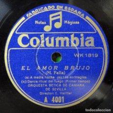 Discos de pizarra: ORQUESTA BÉTICA DE CAMARA DE SEVILLA - EL AMOR BRUJO DE MANUEL DE FALLA- ERNESTO HALFFTER. Lote 199832573