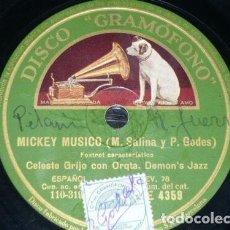 Discos de pizarra: DISCO 78 RPM - GRAMOFONO - INFANTIL - CELESTE GRIJO - DEMON´S JAZZ - MICKEY MUSICO - RARO - PIZARRA. Lote 199859378