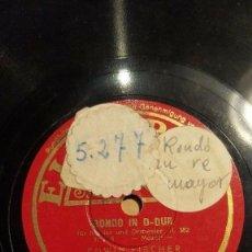 Discos de pizarra: DISCO 78 RPM - ELECTROLA - EDWIN FISCHER - PIANO - RONDO IN D DUR - MOZART - ORQUESTA - PIZARRA. Lote 199866686