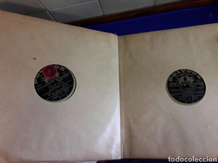 Discos de pizarra: Antiguo álbum de discos de piedra o pizarra de 29 cm POLIDOR - Foto 7 - 200796622