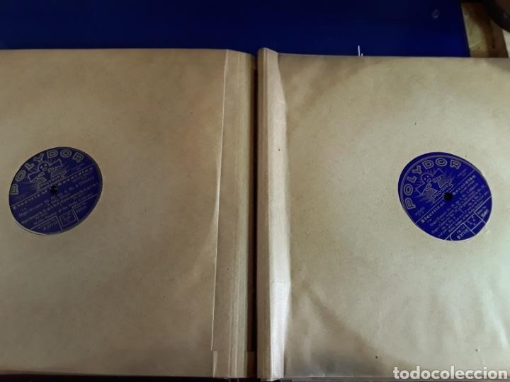 Discos de pizarra: Antiguo álbum de discos de piedra o pizarra de 29 cm POLIDOR,con álbum - Foto 10 - 200798160