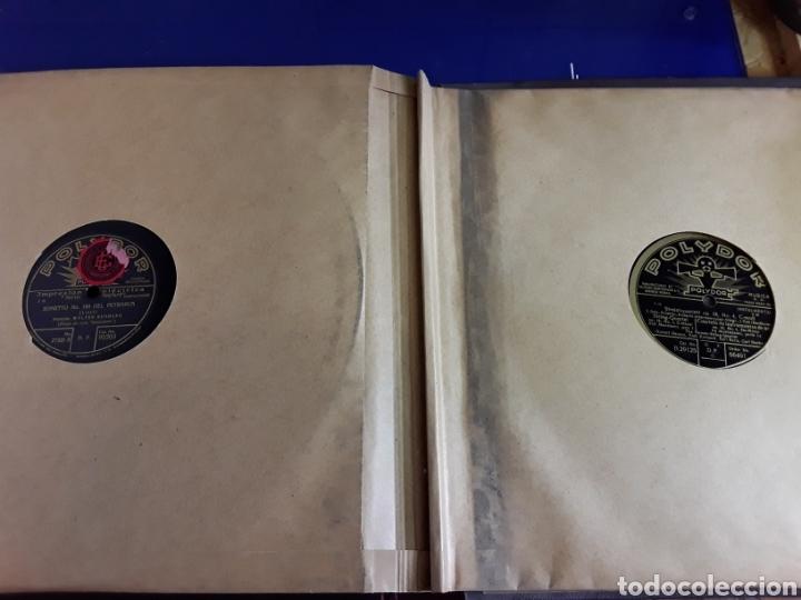 Discos de pizarra: Antiguo álbum de discos de piedra o pizarra de 29 cm POLIDOR,con álbum - Foto 13 - 200798160