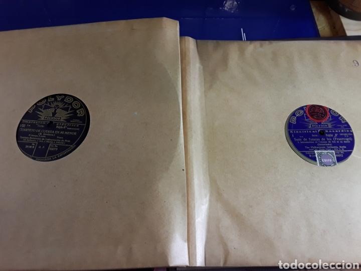 Discos de pizarra: Antiguo álbum de discos de piedra o pizarra de 29 cm POLIDOR,con álbum - Foto 10 - 200799491