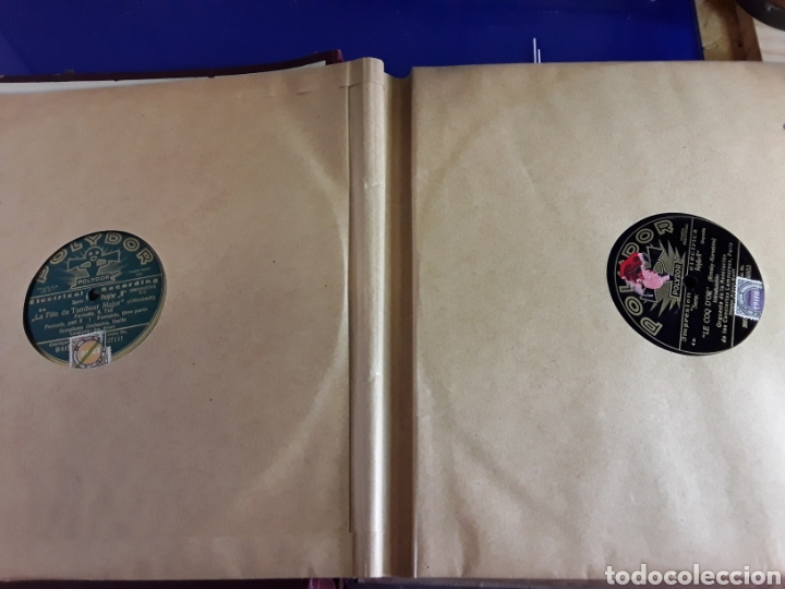 Discos de pizarra: Antiguo álbum de discos varios de piedra o pizarra de 29 cm POLIDOR,OSEON,REGAL,CON ALBUM - Foto 3 - 200800211