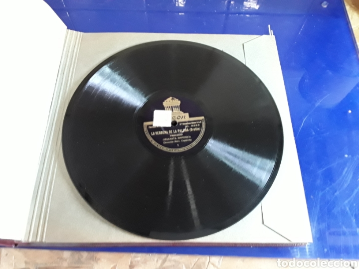 Discos de pizarra: Bonito Album de discos pequeños de pizarra de 24,5cm,grabados por ODEON,LA VERBENA DE LA PALOMA - Foto 5 - 200807066