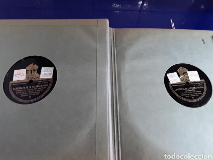 Discos de pizarra: Bonito Album de discos pequeños de pizarra de 24,5cm,grabados por ODEON,LA VERBENA DE LA PALOMA - Foto 7 - 200807066