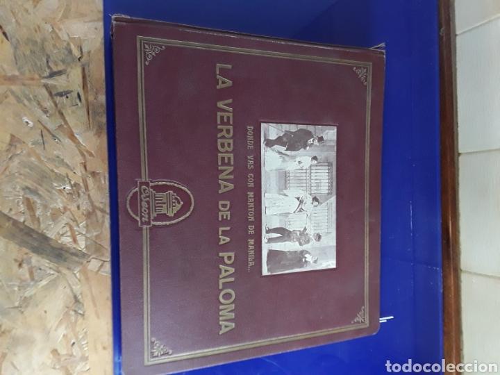 BONITO ALBUM DE DISCOS PEQUEÑOS DE PIZARRA DE 24,5CM,GRABADOS POR ODEON,LA VERBENA DE LA PALOMA (Música - Discos - Pizarra - Clásica, Ópera, Zarzuela y Marchas)
