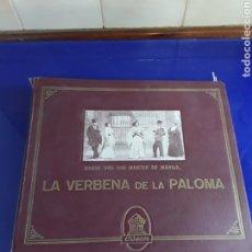Discos de pizarra: BONITO ALBUM DE DISCOS PEQUEÑOS DE PIZARRA DE 24,5CM,GRABADOS POR ODEON,LA VERBENA DE LA PALOMA. Lote 230268575