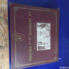 Discos de pizarra: BONITO ALBUM DE DISCOS PEQUEÑOS DE PIZARRA DE 24,5CM,GRABADOS POR ODEON,LA VERBENA DE LA PALOMA. Lote 200807066