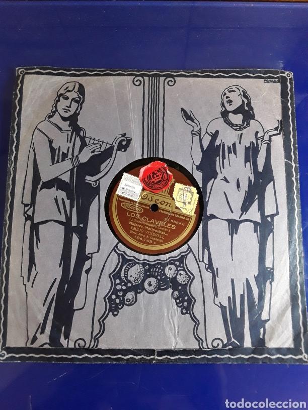 Discos de pizarra: Disco de pizarra de 24,5cm,ODEON,(LOS CLAVELES) - Foto 2 - 200843531