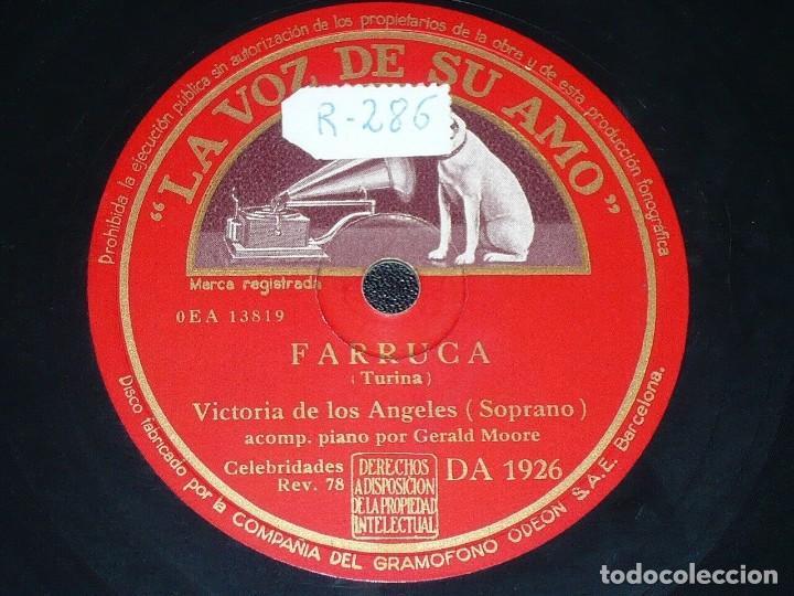 DISCO 78 RPM - VSA - VICTORIA DE LOS ANGELES - OPERA - PIANO - FARRUCA - CLAVELITOS - PIZARRA (Música - Discos - Pizarra - Clásica, Ópera, Zarzuela y Marchas)