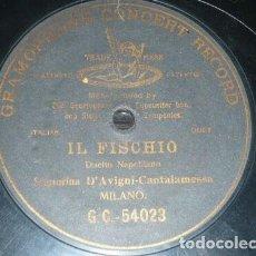 Discos de pizarra: DISCO 78 RPM - G&T BLACK - D´AVIGNY - CANTALAMESSA - OPERA - IL FISCHIO - DUO NAPOLITANO - PIZARRA. Lote 201529540