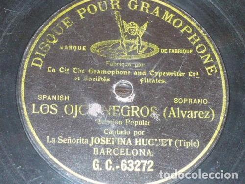 DISCO 78 RPM - G&T BLACK - JOSEFINA HUGUET - SOPRANO - LOS OJOS NEGROS - ALVAREZ - OPERA - PIZARRA (Música - Discos - Pizarra - Clásica, Ópera, Zarzuela y Marchas)