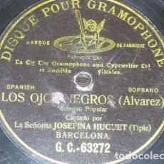 Discos de pizarra: DISCO 78 RPM - G&T BLACK - JOSEFINA HUGUET - SOPRANO - LOS OJOS NEGROS - ALVAREZ - OPERA - PIZARRA. Lote 201531101