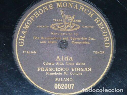 DISCO 78 RPM - G&T BLACK - FRANCESCO VIGNAS - TENOR - OPERA - AIDA - VERDI - MILAN - PIANO - PIZARRA (Música - Discos - Pizarra - Clásica, Ópera, Zarzuela y Marchas)