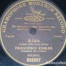 Discos de pizarra: DISCO 78 RPM - G&T BLACK - FRANCESCO VIGNAS - TENOR - OPERA - AIDA - VERDI - MILAN - PIANO - PIZARRA. Lote 201777196
