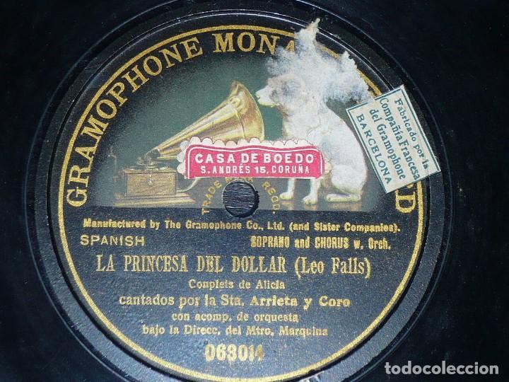 DISCO 78 RPM - GMR BLACK - ARRIETA - SOPRANO - OPERA - LA PRINCESA DEL DOLLAR - LEO FALLS - PIZARRA (Música - Discos - Pizarra - Clásica, Ópera, Zarzuela y Marchas)