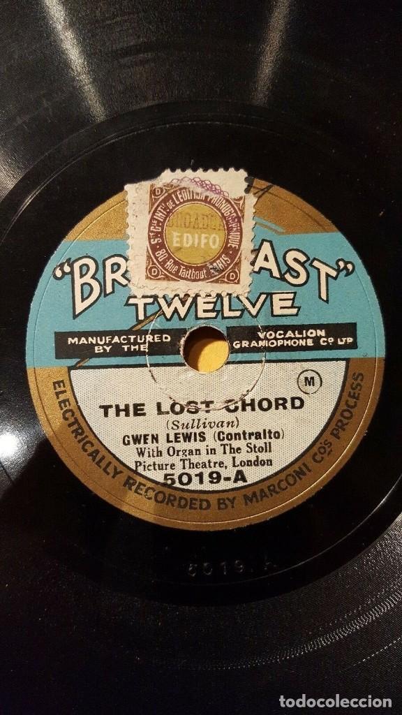 DISCO 78 RPM - BROADCAST TWELVE - GWEN LEWIS - ORGANO - OPERA - THE LOST CHORD - SULLIVAN - PIZARRA (Música - Discos - Pizarra - Clásica, Ópera, Zarzuela y Marchas)