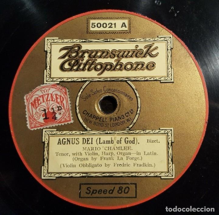 DISCO 78 RPM - BRUNSWICK - MARIO CHAMLEE - AGNUS DEI - BIZET - AVE MARIA - KAHN - OPERA - PIZARRA (Música - Discos - Pizarra - Clásica, Ópera, Zarzuela y Marchas)