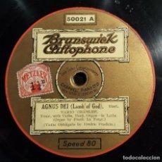 Discos de pizarra: DISCO 78 RPM - BRUNSWICK - MARIO CHAMLEE - AGNUS DEI - BIZET - AVE MARIA - KAHN - OPERA - PIZARRA. Lote 201784690