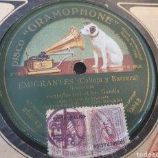 Discos de pizarra: DISCO DE PIZARRA EMIGRANTES , ( CALLEJA Y BARRERA). Lote 202637053