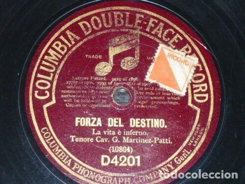DISCO 78 RPM - COLUMBIA - CAV. G. MARTINEZ PATTI - TENOR - OPERA - FORZA DEL DESTINO - PIZARRA (Música - Discos - Pizarra - Clásica, Ópera, Zarzuela y Marchas)