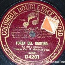 Discos de pizarra: DISCO 78 RPM - COLUMBIA - CAV. G. MARTINEZ PATTI - TENOR - OPERA - FORZA DEL DESTINO - PIZARRA. Lote 202681288
