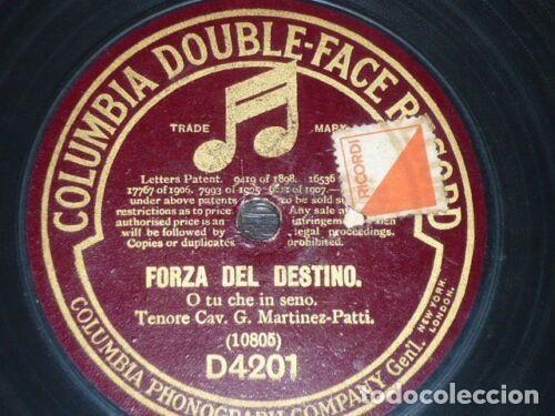 Discos de pizarra: DISCO 78 RPM - COLUMBIA - CAV. G. MARTINEZ PATTI - TENOR - OPERA - FORZA DEL DESTINO - PIZARRA - Foto 2 - 202681288