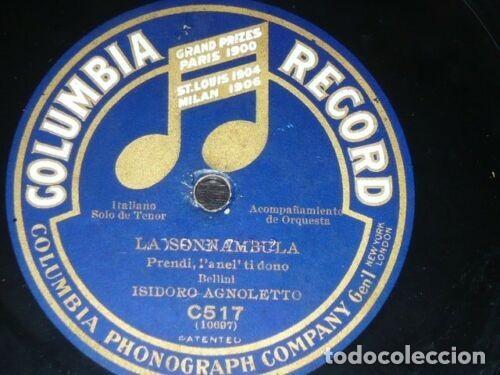 DISCO 78 RPM - COLUMBIA - HIDALGO - SOPRANO - AGNOLETTO - TENOR - LA SONNAMBULA - OPERA - PIZARRA (Música - Discos - Pizarra - Clásica, Ópera, Zarzuela y Marchas)