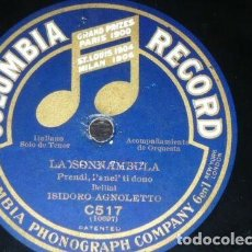 Discos de pizarra: DISCO 78 RPM - COLUMBIA - HIDALGO - SOPRANO - AGNOLETTO - TENOR - LA SONNAMBULA - OPERA - PIZARRA. Lote 202682282
