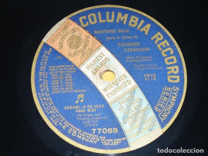 DISCO 78 RPM - COLUMBIA - RICCARDO STRACCIARI - BARITONO - ERNANI - VERDI - OPERA - PIZARRA (Música - Discos - Pizarra - Clásica, Ópera, Zarzuela y Marchas)