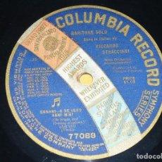 Discos de pizarra: DISCO 78 RPM - COLUMBIA - RICCARDO STRACCIARI - BARITONO - ERNANI - VERDI - OPERA - PIZARRA. Lote 202684776
