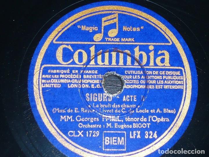 DISCO 78 RPM - COLUMBIA - GEORGES THILL - TENOR - MIREILLE - GOUNOD - OPERA - SIGURD - PIZARRA (Música - Discos - Pizarra - Clásica, Ópera, Zarzuela y Marchas)